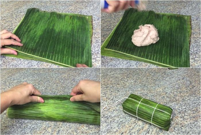 Cách gói giò chả bằng lá chuối và bằng màng lá chuối giả